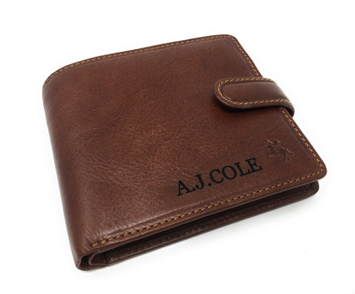 Personalised RFID Luxury Tan Arezzo Cash & Coin Leather Wallet (Best Seller)