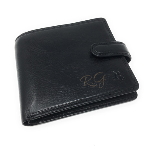 Personalised RFID Luxury  Arezzo Cash & Coin Black Leather Wallet