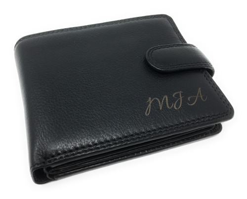 Personalised Luxury RFID Black Leather Wallet - Engraved with Name or Initials - Unique Men's Gift, Fathers Day, Birthday, Custom Engraved (Best Seller)