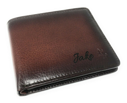 Personalised Luxury RFID Burnished Tan Leather Wallet - Engraved with Name or Initials - Unique Men's Gift, Fathers Day, Birthday, Custom Engraved (Best Seller)
