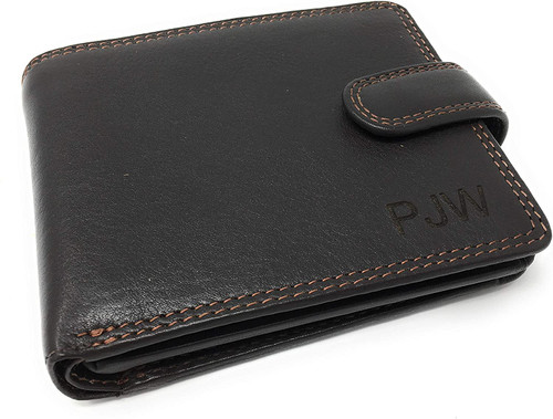 Personalised Luxury RFID Black Leather Wallet - Engraved with Name or Initials (Best Seller)