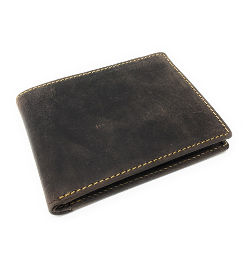 Personalised RFID Slim Oiled Brown Leather Wallet