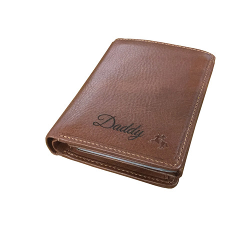 Personalised  RFID Tan Card Wallet - Engraved with Name or Initials - Unique Men's Gift, Fathers Day, Birthday, Custom Engraved