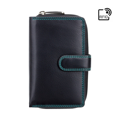 Personalised RFID Luxury Aqua & Black Cash & Coin Purse (Best Seller)