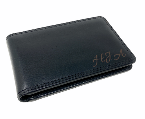 Personalised RFID Nelson Black Card Wallet - Engraved with Name or Initials - Unique Men's Gift, Fathers Day, Birthday, Custom Engraved