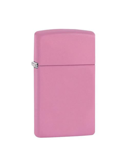 Personalised Slimline Pink Matte Genuine Zippo Lighter