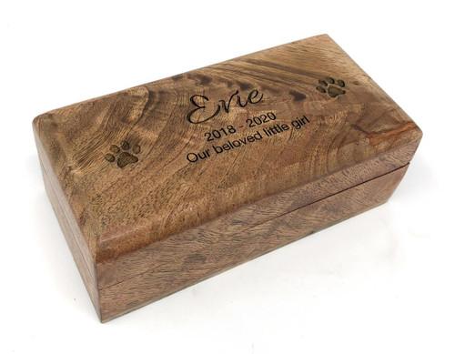 PERSONALISED MANGO WOOD PET MEMORIAL ASHES CASKET - SMALL