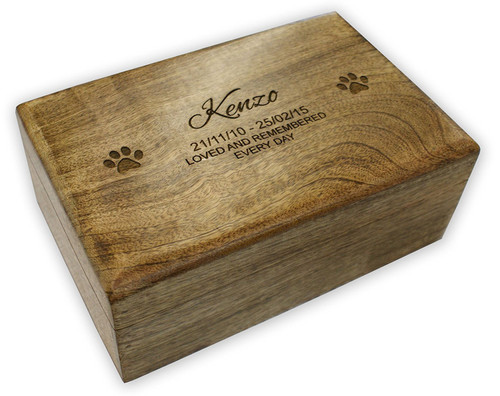 PERSONALISED MANGO WOOD PET MEMORIAL ASHES CASKET - Large