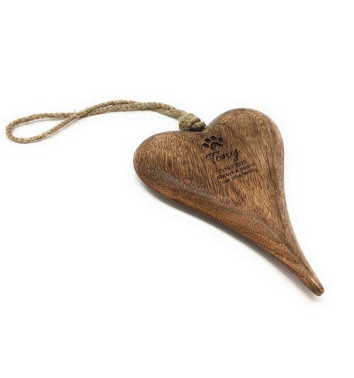 Personalised Pet Remberance Hanging Wooden Heart Plaque Keepsake - Small