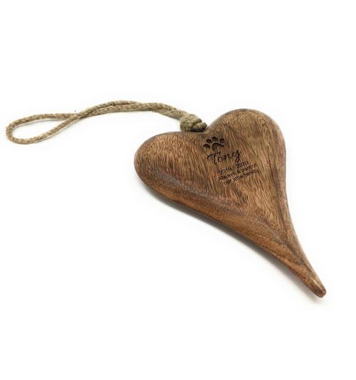 Personalised Pet Remberance Hanging Wooden Heart Plaque Keepsake -  Large