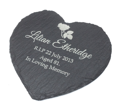 Personalised Heart Shape Slate Engraved Human Memorial Marker Garden Plaque