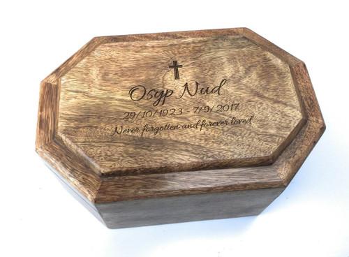 Personalised Laser Engraved Mango Wood Ashes Casket - Large