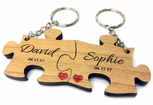 Personalised Wood Jigsaw Keyrings Engraved Valentine Anniversary Couples Gift - Message On Back