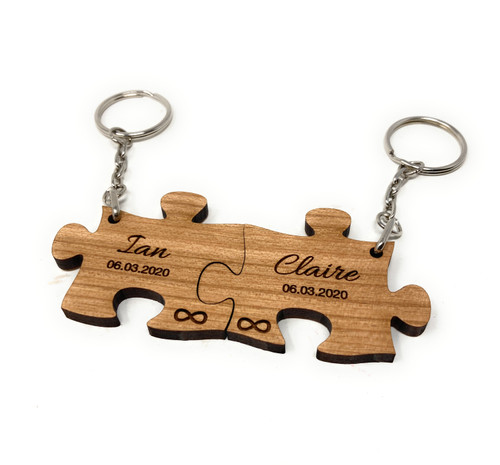 Personalised Wood Jigsaw Keyrings Engraved Valentine Anniversary Couples Gift - Infinity Symbol