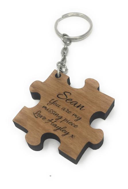Personalised Wood Single Jigsaw Keyring Engraved Valentine Anniversary Gift