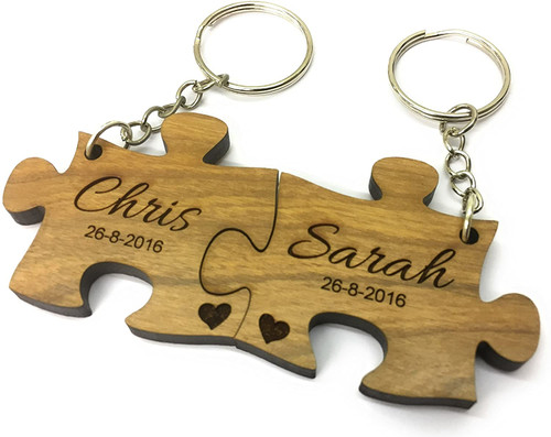 Personalised Cherry Wood Jigsaw Keyrings Engraved Valentine Anniversary Couples Gift