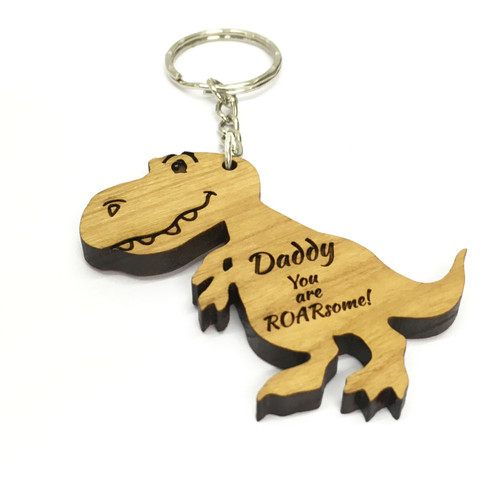 "Personalised Wood Dinosaur Keyring ""You Are Roarsome!"" Engraved Daddy,Mummy Gift."