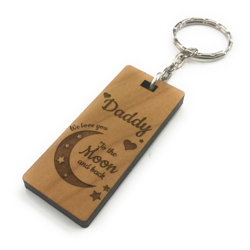 Personalised Love You To The Moon & Back Wood Keyring