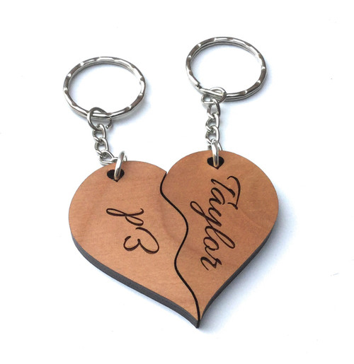 Personalised Wood Joining Heart Keyrings Engraved Valentine Anniversary Couples Gift