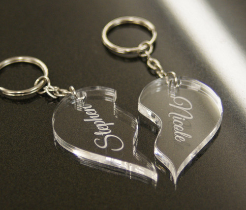 Personalised Acrylic Joining Heart Keyrings Engraved Valentine Anniversary Couples Gift