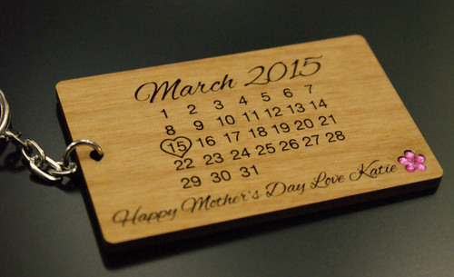 Personalised Wooden Calendar Keyring - Day You Became My Mum Mothers Day Mummy Gift