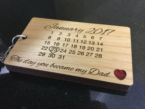 Personalised Wooden Calendar Keyring - Day You Became My Daddy, Father's Day, Daddy Gift