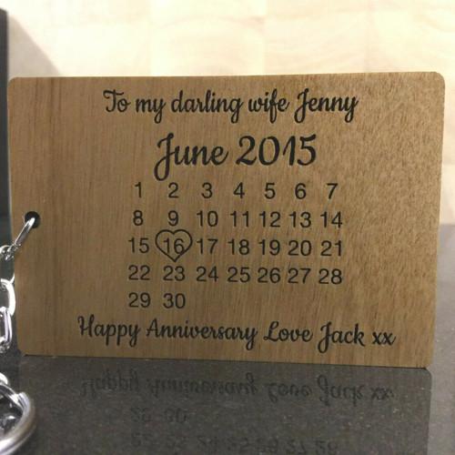 Personalised Wooden Calendar Keyring - Wedding Valentines Gift