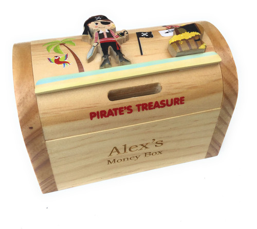 Personalised Childrens Wooden Money Box - Pirate Design
