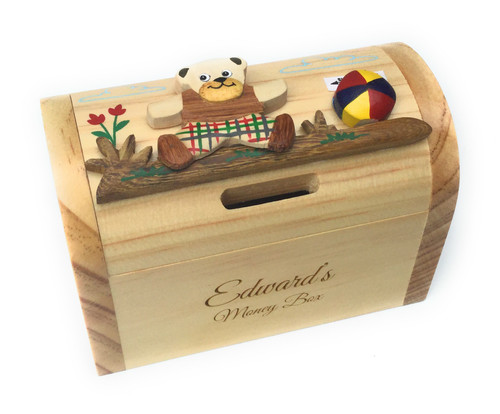Personalised Childrens Wooden Money Box - Teddy Bear Design