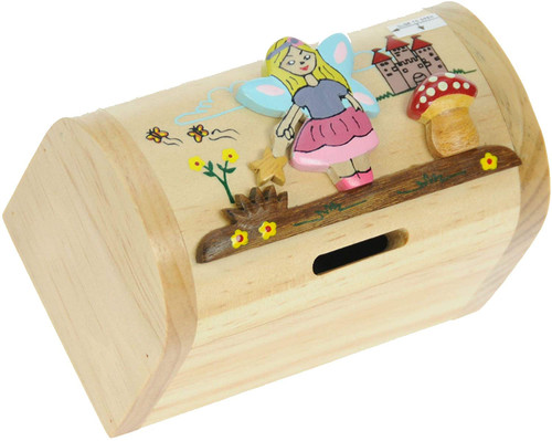 Personalised Childrens Wooden Money Box - Fairy Design