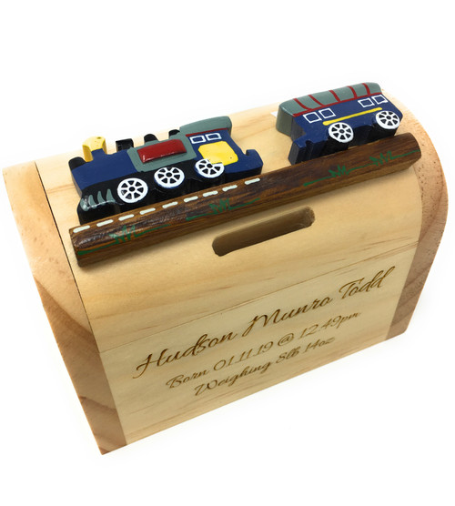 Personalised Childrens Wooden Money Box - Blue Train Design