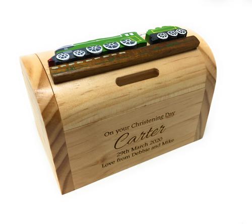 Personalised Childrens Wooden Money Box - Green Train Design