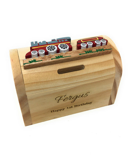 Personalised Childrens Wooden Money Box - Red Train Design