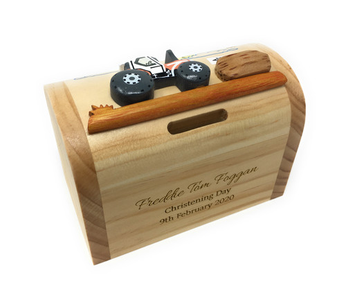 Personalised Childrens Wooden Money Box - Tractor Design