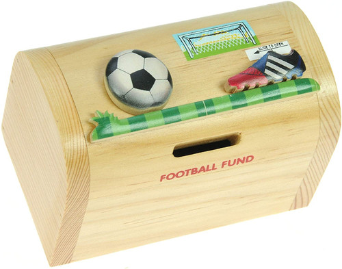 Personalised Childrens Wooden Money Box - Football Design