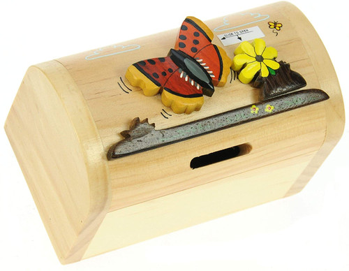 Personalised Childrens Wooden Money Box - Butterfly Design