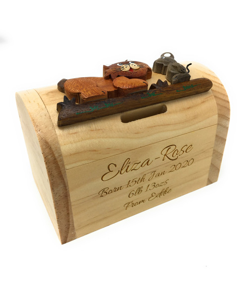 Personalised Childrens Wooden Money Box - Cat & Mouse Design