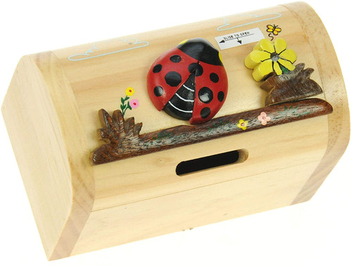 Personalised Childrens Wooden Money Box -Ladybird Design