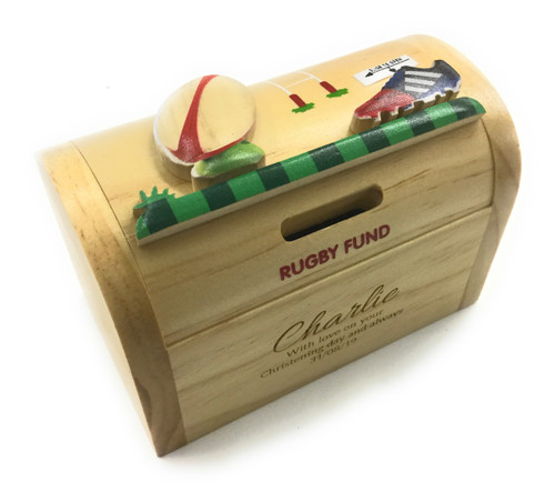 Personalised Childrens Wooden Money Box - Rugby Design