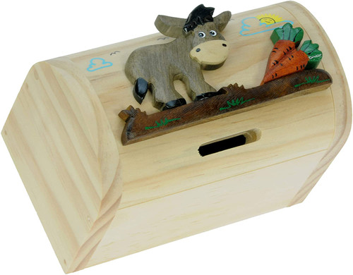Personalised Childrens Wooden Money Box - Donkey Design
