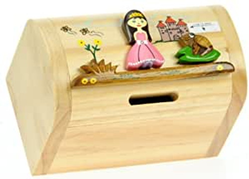 Personalised Childrens Wooden Money Box - Princess Design