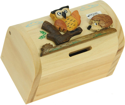Personalised Childrens Wooden Money Box - Owl & Hedgehog Design