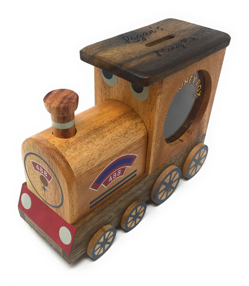 Personalised Childrens Large Wooden Money Box -  Steam Train Design