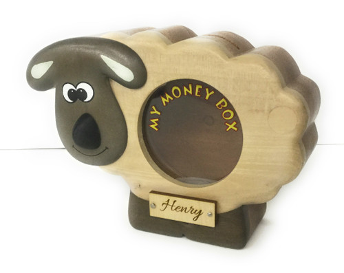 Personalised Childrens Large Wooden Money Box - Sheep Design