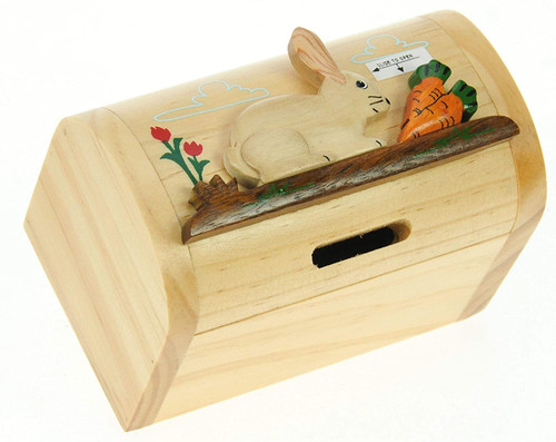 Personalised Childrens Wooden Money Box -  Rabbit Design