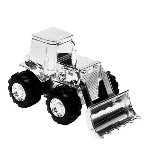 Personalised Silverplated Childrens Money Box -  Digger Design