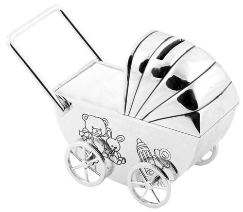 Personalised Silverplated Childrens Money Box -  Pram Design