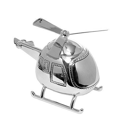 Personalised Silverplated Childrens Money Box -  Helicopter Design