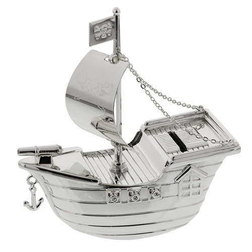Personalised Silverplated Childrens Money Box - Pirate Ship Design