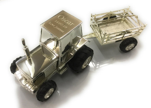 Personalised Silverplated Childrens Money Box - Tractor  & Trailer Design